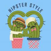 Loving couple of hipster cactus arm in arm — Stock Vector