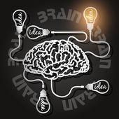 Papier découpé du cerveau et ampoules — Vecteur