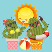 The loving couple of cactus with summer theme — Stock vektor