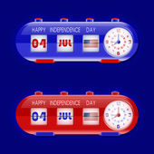 7 月 4 日与表皮瓣时钟和人数计数器 — 图库矢量图片