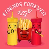 Fried potatoes and ketchup and mustard cartoon — Stock Vector