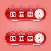 Valentine day with table flap clocks and number counter — Stock Vector