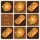 Tic-Tac-Toe of Hot Dog and Hamburger — Stock Vector