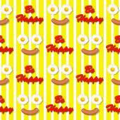 Smiling face make with fried eggs and sausage seamless pattern — Stock Vector