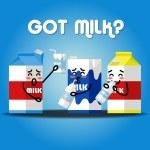 Milk cartons drinking milk — Stock Vector #78618966