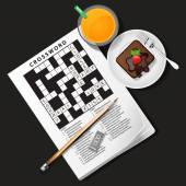Illustration of crossword game with orange juice and chocolate c — Stock Vector