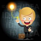 Businessman turning on idea light bulb — Stock Vector