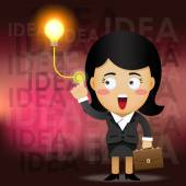 Business woman turning on idea light bulb — Stock Vector