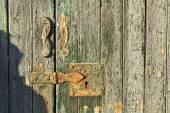 Wooden door and keyhole — Foto de Stock