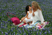 Easter Tea Party in TX Bluebonnets — Stock Photo