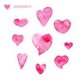 Sada akvarel srdce — Stock vektor