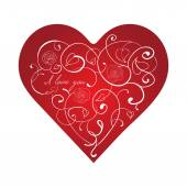Red heart with white ornament — Vector de stock