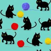 Kočky a míček — Stock vektor