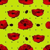 Amapolas de flores y semillas de amapola — Vector de stock