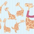 Group of cartoon giraffe with different emotions. — Stock Vector #77539598