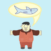 Satisfied sailor boasts about size of caught shark — Stock Vector