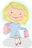 Young girl (shopaholic) returns home with profitable purchase — Stock Vector