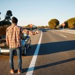 Cars driver trying stop car in travel because his car broken. — Stock Photo #70182571