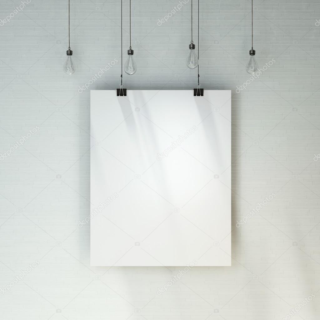 벽돌 벽 커튼 장식 빈티지 전구 아래에 빈 흰색 포스터 — 스톡 ...