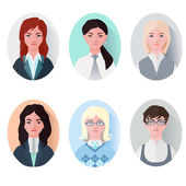 Icon set business women in flat style — Stock Vector