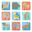 Icons, wild animals of africa — Stock Vector #71202167