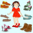 Little girl trying on big shoes, a lot of different footwear — Stock Vector #71931007