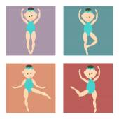 Set of colored icons, cartoon girl in a bathing suit dancing, different poseslittle ballerina in various poses, cartoon vector image, different colors — Stock Vector