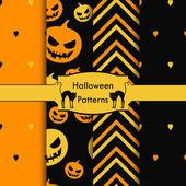 Set of seamless patterns, halloween, pumpkin, heart — Stock Vector