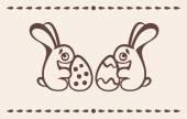 Zwei Osterhasen halten Eier — Stockvektor
