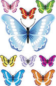 9 Beautiful butterflies with difrent colors and gradients. — Stock Vector