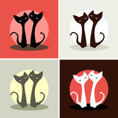 Set. four pictures. two cats in love — Stock Vector