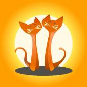 Two cats in love on an orange background — Vector de stock