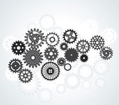 Set of gears, different sizes and shapes, black on the gradient  — Stock Vector