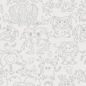Pattern seamless texture ufo alien monsters bacteria human virus — Stockvektor
