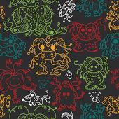 Pattern seamless texture ufo alien monsters bacteria human virus — Stock Vector