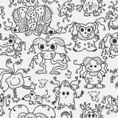 Pattern seamless texture ufo alien monsters bacteria virus man b — Stock Vector