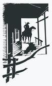 Vector cartoon cowboy western one line — Stock Vector