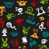 Pattern seamless texture monsters UFO bacteria virus full color — Vector de stock