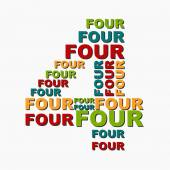 Four 4 digit number consisting of words of different sizes of mu — Stock Vector
