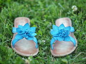 Blue summer shoes on the grass. — Stock Photo