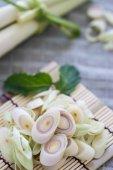 Lemon Grass Slice on bamboo. — Stock Photo