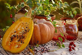 Pumpkin and compote — Stock Photo