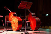 Two contrabasses on the stage — Stock Photo