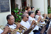 Musicians with a trumpets in an orchestra  in Havana, Cuba on May 10, 2013. — Stock Photo