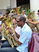 Musician with a tube in an orchestra in Havana, Cuba on May 10, 2013. — Stock Photo