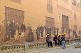 Road workers near the historical painted wall in Havana. — Stock Photo