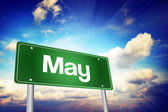 May Green Road Sign, Months of the Year concep — Foto Stock