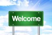 Willkommen Green Straßenschild, Business Concep — Stockfoto