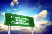 Frequently Asked Questions (FAQ) Green Road Sign, Business Conce — Stock Photo