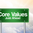 Core Values Just Ahead Green Road Sign, business concep — Stock Photo #65777287